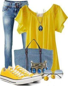 Love the yellow.  Like  the whole outfit. Bracelet maybe too chunky