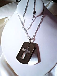 """mens/womens dog tag style cross pendant stainless steel pendant & 30"""" chain #Unbranded #DogTag"""