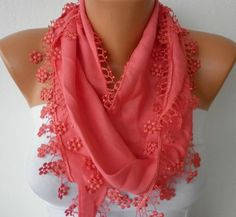 Hot Pink Scarf   Pashmina Scarf   Headband Necklace by fatwoman, $13.50