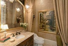 Traditional Powder Room with Inset cabinets, Pendant Light, Flat panel cabinets…