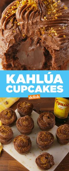 These cupcakes are for Kahlúa lovers only. Get the recipe at Delish.com. #cupcake #recipe #easyrecipe #chocolate #alcohol #baking #sugar #desserts #liqueur #kahlua