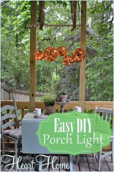 I'm doing a screen porch makeover at the moment and wanted to add a bit of light over the drop-leaf table. Using some grapevine balls and white lights with brow…