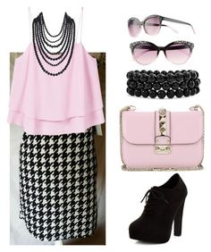"""Lularoe hounds tooth Cassie skirt"" by amymgardner on Polyvore featuring MANGO, New Look, Bling Jewelry, Valentino, UNIONBAY and Humble Chic"