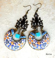 Portugal Antique Azulejo Tile Earrings Monserrate Palace by Atrio