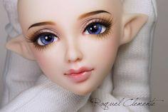 Finished face up for Asha. Enni Sweet Elf  - #bjd #bjds #balljointeddolls #balljointeddoll #ennisweetelf #ennibjd #elf #bjdelf #faceup #custom #lovely #cute #sweet #doll #dolls #art #artdoll #faceups #commission #makeup #makoeyes...