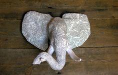 Paper Mache Animal Head Sculpture - African Elephant Head - Faux Taxidermy