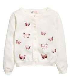 Fine-knit Cardigan   White/butterflies   Kids   H&M US