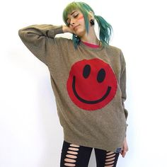Brown cashmere jumper embellished with red #acidsmiley #festivalfashion #ooak #sustainablefashion #ootd #ecofashion #handmade #upcycledfashion #upcycledclothing #upcycled #festivaljumpers #festivalessential #ravestyle #festivalstyle #madetoorder #festivalinspo #slowfashion #coldsummer #acieeeed #fashionblogger #outfitoftheday #leftoverthreads
