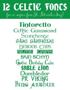 12 Celtic Fonts for a Fun St. Patrick's Day!