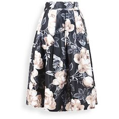 Large Flower Ruffled Midi Skirt (5.887 KWD) ❤ liked on Polyvore featuring skirts, calf length skirts, frilly skirt, flounce skirt, flouncy skirt and mid calf skirts