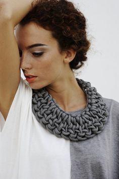Fun thick wide keyhole shaped neckline for any knit sweater. alienina - has many statement jewelry pieces made out of paracord (usually discarded)