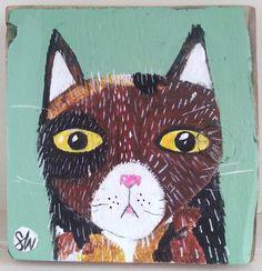 Tortie cat face.  Original folk art style painting by sallyywolfe, $60.00