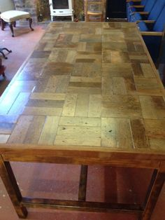 RECRAFT + UPCYCLED : PARQUET BLOCK TABLE - Reclaimed Parquet Block Flooring Table Top mounted onto original table base Dining Tables, Table And Chairs, Dining Room, Parque Flooring, Reclaimed Parquet Flooring, Diy Table Top, Farm Projects, Block Table, Apartment Renovation