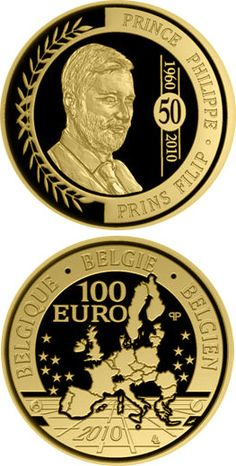 N♡T.100 euro: 50. birthday of Philipp of Belgium.Country:	Belgium  Mintage year:	2010 Face value:	100 euro Diameter:	29.00 mm Weight:	15.55 g Alloy:	Gold Quality:	Proof Mintage:	2,000 pc proof