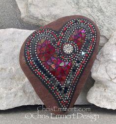 Iridescent Red Heart Mosaic Rock, Gardener Gift, Home Decor, Mosaic Garden Stone Mosaic Rocks, Mosaic Crosses, Stone Mosaic, Mosaic Art, Wind Spinners, Pet Rocks, Mosaic Garden, Mosaic Projects, Mosaic Designs
