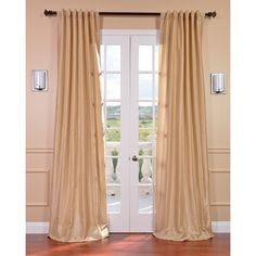 Almond Vintage Faux Textured Dupioni Silk Curtain Panel | Overstock.com Shopping - The Best Deals on Curtains