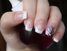 Gel nails with hand painting.