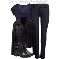 The vampire diaries - damon salvatore inspired outfit Tv Show Outfits, Fall Outfits, Casual Outfits, Cute Outfits, Fashion Outfits, Fashion Boots, Fashion Fashion, Casual Wear, Damon Salvatore