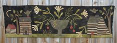 "Blackverry Primitives: OLD SETTLEMENT is the latest design we are representing for Maggie Bonanomi. It is a wonderful 16"" x 58"" hand-dyed wool applique runner."