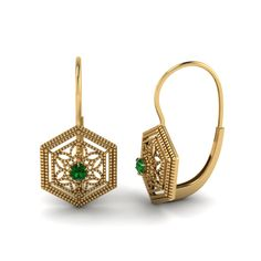 Green Emerald Drop In 14K Yellow Gold | Florid Flywheel Drops |
