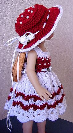 280386392888 Order a custom dress.darlings Also see my dolls for sale o Crochet Baby Dress Pattern, Crochet Doll Dress, Crochet Doll Clothes, Knitted Dolls, American Doll Clothes, Ag Doll Clothes, Baby Born Kleidung, American Girl Crochet, Doll Dress Patterns