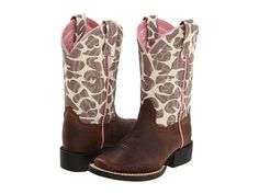 Ariat Kids Quickdraw (Toddler/Youth) Brown Pull Up/Giraffe Print - because in Kansas, every little girl needs a pair of cowboy boots!  Seriously . . .