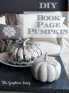Make Book Page Pumpkins with Glittery Leaves! #Crafts #Fall