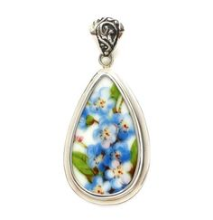 Broken China Jewelry Bavarian Blue Forget Me Nots Sterling Tall Drop Pendant - Vintage Belle Broken China Jewelry