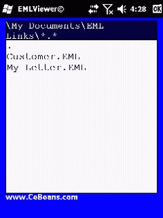 EMLViewer©  This utility allows you to view EML link files on your PocketPC. Use the built in file explorer to locate and EML link and tap on it to view in the built in viewer. The program works in a folder based interface.