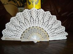 White lace hand fans crochet 100 cotton wedding by Irenastyle. $110.00, via Etsy.