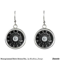 Monogrammed Retro Rotary Dial Novelty Earrings Rotary, Keep It Cleaner, Monogram, Perfume, Drop Earrings, Jewelry, Design, Jewlery, Jewerly