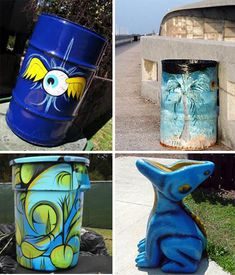 Trash Can Art? 28 Garbage Cans That Belong In A Gallery. I gotta try to make a little dragon like that blue dude. My kids would love it. Painted Trash Cans, Paint Cans, Garbage Pail Kids, Garbage Can, Art Club Projects, Painted Mailboxes, Street Art, Smart Art, Recycling Bins