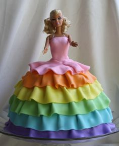 """Rainbow Ruffles Barbie Cake - This was my daughters 8th birthday cake.  She wanted a Barbie cake and she wanted Barbie's dress to be """"rainbow"""".  It's all decorated with MMF."""