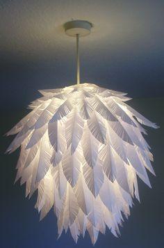 Suspension globe agrémentée de plumes en plastique. - Suspension globe decorated with plastic feathers.