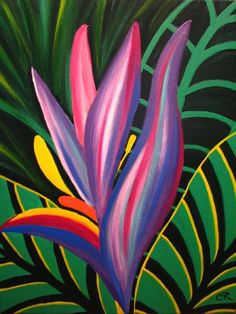 """""""Bird of Paradise"""" by Candice Rodriguez - Malerei Kunst Abstract Flowers, Watercolor Flowers, Watercolor Paintings, Canvas Wall Art, Wall Art Prints, Bird Painting Acrylic, Bright Art, Tropical Art, Arte Pop"""