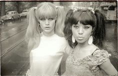 """""""Irma & Pantera in the city"""" -1965, EVA Magazine. (Holland) Pic by future director WIM VAN DER LINDEN. Editorial by feminist author LAURIE LANGENBACH and style DINI DANAVE. (Woman Power).. Langenbach was editor for EVA & HITWEEK-ALOHA, + singer-songwriter for AHURA MAZDA (Dutch Prog) and her book """"Secret Love"""" was published in 1977. She is survived by her partner WALLY TAX from Nederbeat legends THE OUTSIDERS. The model """"Pantera"""" was friends w/THE FOOL design collective and no info on """"Irma""""…"""