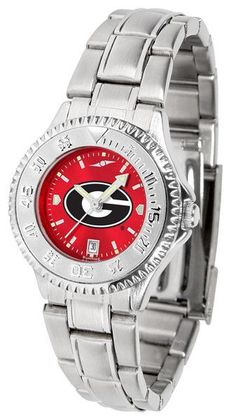 Georgia Bulldogs Ladies Competitor Steel Watch With AnoChome Red Dial – Cooler Time