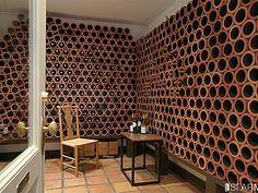 clever use of clay pipes for wine storage & Terracotta drainage tiles for a wine rack. | DIY | Pinterest | Wine ...