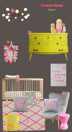 Neon girl nursery - yellow and pink