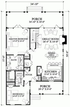 Take out one bathroom and line-up the other bedroom.  Have the porch go across the front.