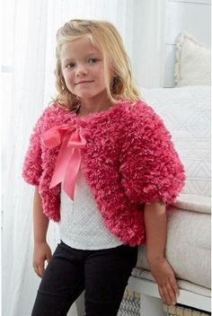 Pretty Pink Fashion Fur Shrug for Girls | This easy knit shrug for girls is almost too cute for words!