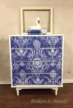 Mid-Century Modern dresser in royal blue
