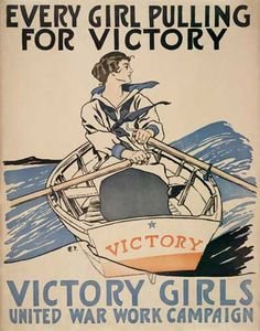 World War 1 version of the Rosie the Riveter of WW2. Poster encouraging (at least unmarried women) joining the work force to back up the war effort.