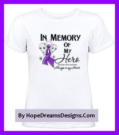 In Memory of My Hero Pancreatic Cancer shirts and remembrance gifts in honor of those succumb to cancer featuring a beautiful angel awareness ribbon by hopedreamsdesigns.com