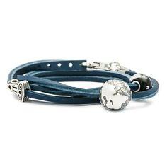 Leather Bracelet w/ silver Blue - trollbeads.com