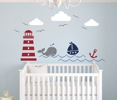 This Nautical Wall Decal is a cheerful addition to any nursery. Check it out! On Sale!