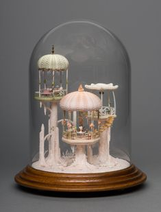 "cupcakes-and-lithium: ""kirakiraclub: ""This piece of art made by Peter Gabel ""Miniature Mermaid House"" it's the most beutiful thing I've seen in a while. The Bell Jar, Bell Jars, Seashell Crafts, Mini Things, Shell Art, Miniature Houses, Miniature Dolls, Miniture Things, Fairy Houses"