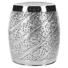 Nickel-plated garden stool with an etched floral motif.   Product: Garden stool Construction Material: Aluminum