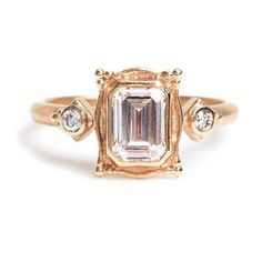 Megan Thorne Emerald-Cut Picture Frame Ring in Rose Gold