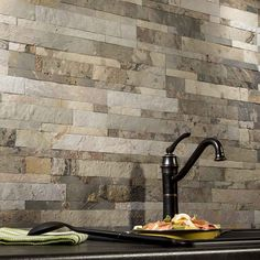 Aspect Backsplash Stone Tile In Medley Slate
